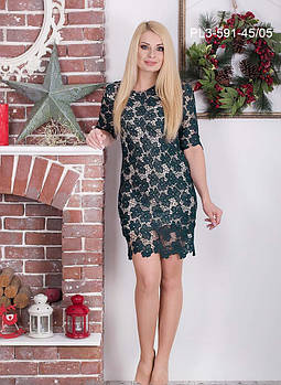 / Размер 42,44 / Женское гипюровое платье прилегающего силуэта / цвет зеленый