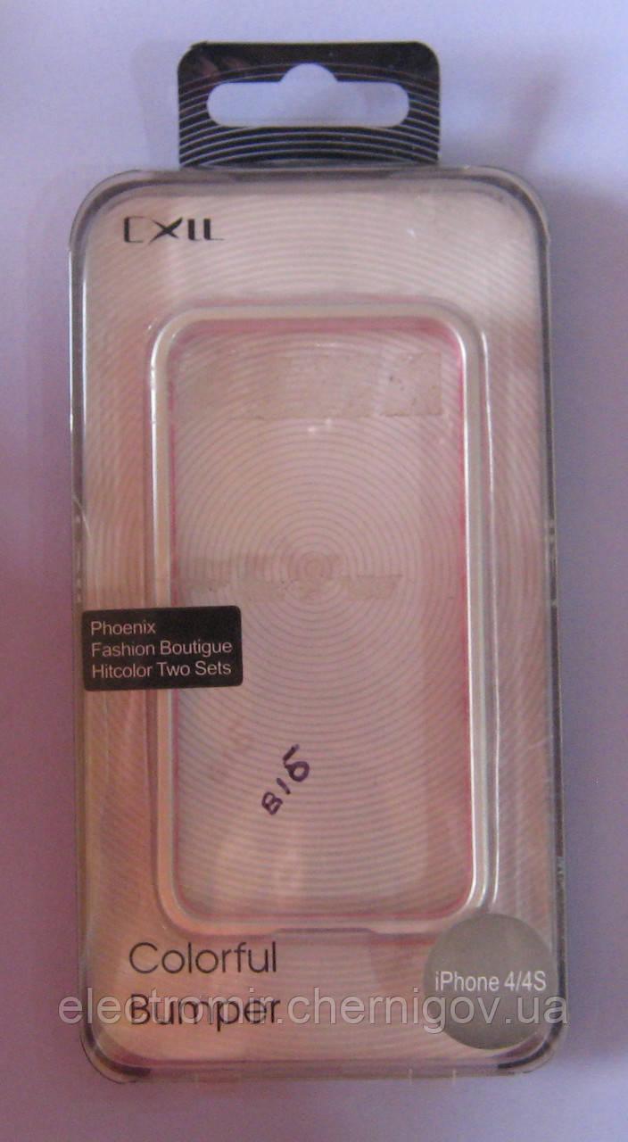 Чехол-бампер для телефона IPhone 4,4S (серебристый с розовым)
