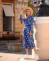 Летнее платье миди за колено с шелка Армани, (40-50рр), принт сирень