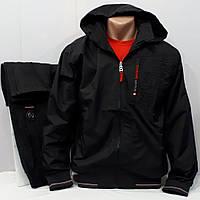 Чёрный качественный спортивный костюм из плащёвой ткани турецкой фабрики, брюки прямые.