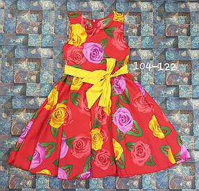 Платье цветочный принт  для девочки Фея 104-122 цветы на красном
