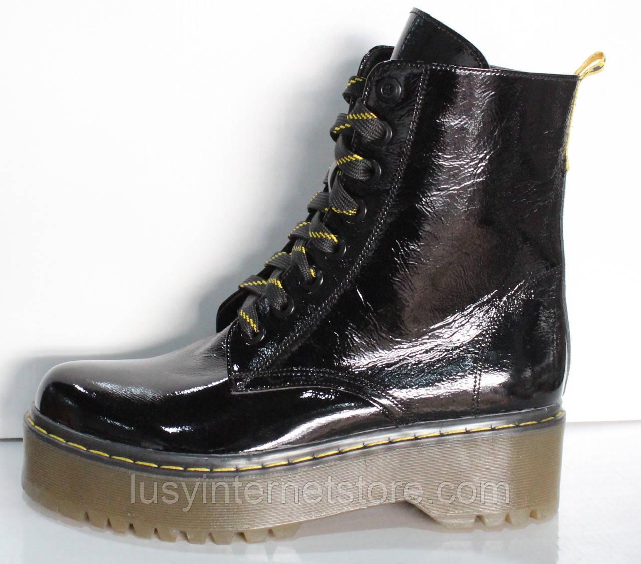 Мартинсы лаковые черные демисезонные женские от производителя модель КЛ900Л