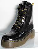 Мартинсы лаковые черные демисезонные женские от производителя модель КЛ900Л, фото 2