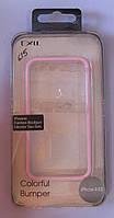 Чехол-бампер для телефона IPhone 4,4S,4G (белый с розовым), фото 1