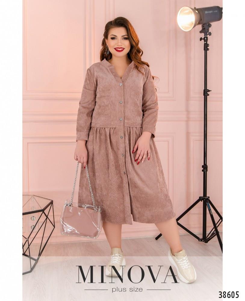 Женское вельветовое платье с фальш-жакетом больших размеров 50-64