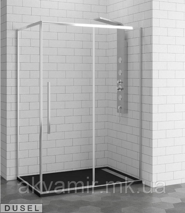 Душевая кабина Dusel DL191/195, 120х80х190, дверь раздвижная, профиль хром, стекло прозрачное