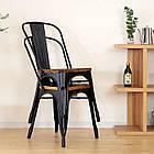 Металлический стул Толикс Вуд серый глянец от SDM Group, штабелируемый, фото 3