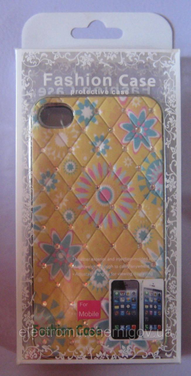 Чехол-бампер для телефона IPhone 4,4S,4G (желтый со стразами)