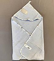 Полотенце-уголок голубое для новорожденных 80х70 см