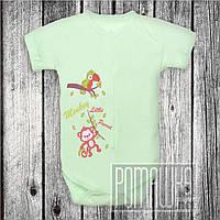 Детский боди футболка р 86 (80-86) 8-12 мес бодик короткий рукав для новорожденных малышей КУЛИР 3087 Зелёный