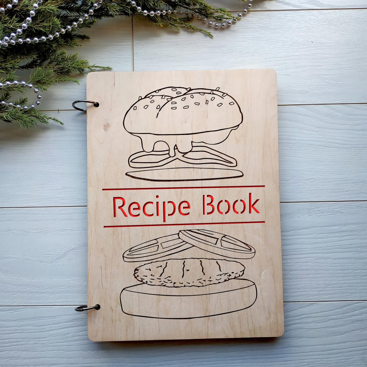 Деревянная записная книга для кулинарных рецептов