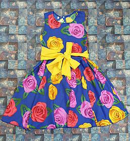 Платье цветочный принт  для девочки Фея 104-122 цветы на электрик
