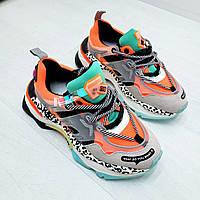 Молодежные разноцветные женские кроссовки на толстой подошве оранжевые, женская обувь спорт