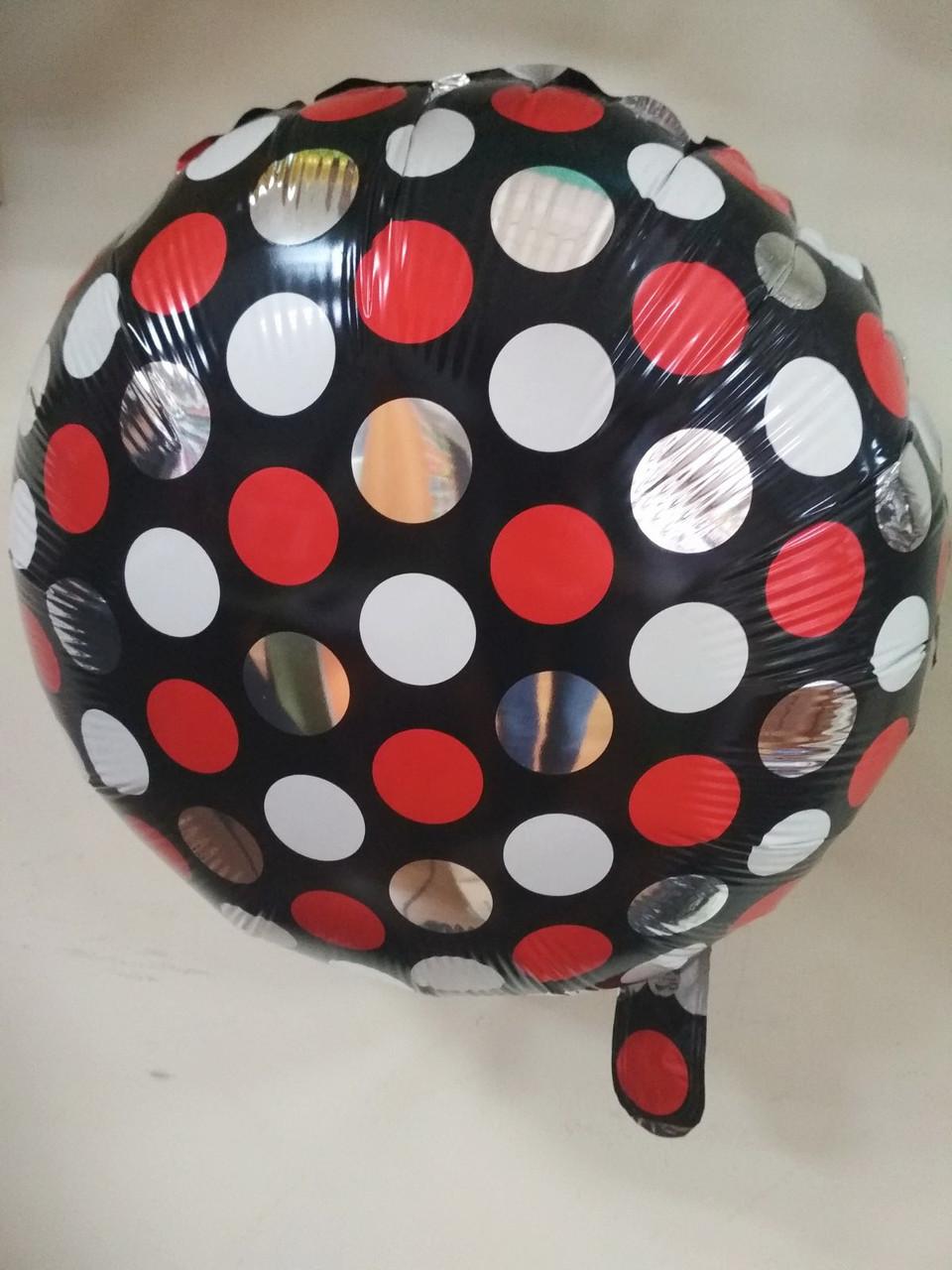 """Фольгированный шар круг черное в горошек красно-белый 18"""" Китай"""