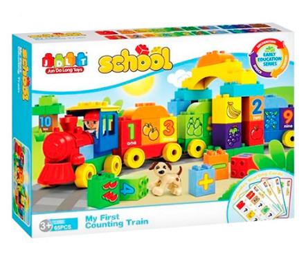Конструктор детский от 3 лет пластиковый, большие детали, поезд с цифрами