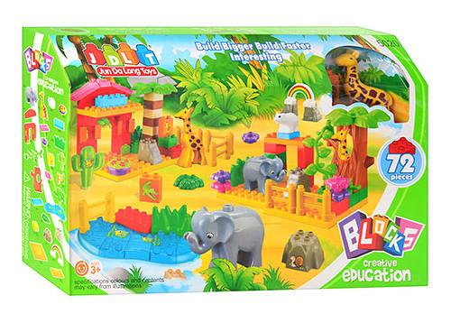 """Конструктор дитячий від 3 років пластиковий великі деталі. """"Зоопарк"""" 72 деталі"""