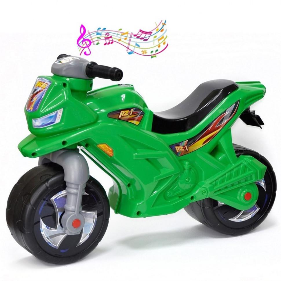 Детский пластиковый беговел мотоцикл 2-х колесный 501G Зеленый