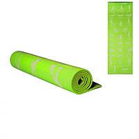 Коврик для спорта, коврик для йоги, туристический коврик, йогамат.  (Зеленый)
