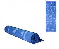 Коврик для спорта, коврик для йоги, туристический коврик, йогамат. (Голубой)