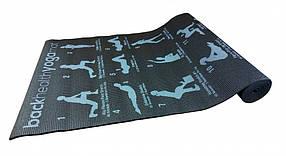 Йогамат, килимок для йоги, килимок для фітнесу (Чорний)