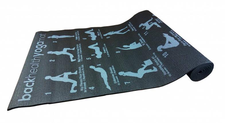 Йогамат, коврик для йоги, коврик для фитнеса (Черный), фото 2