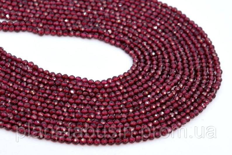 3.3 мм Гранат, Натуральный камень, Форма: Граненый Шар, Длина: 40 см