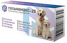 Таблетки против глистов для собак и щенков крупных пород Гельмимакс-20 Api-San 2 табл.