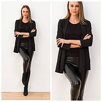 Женский черный пиджак оверсайз с рукавом 3/4. трикотажный (Турция), фото 1