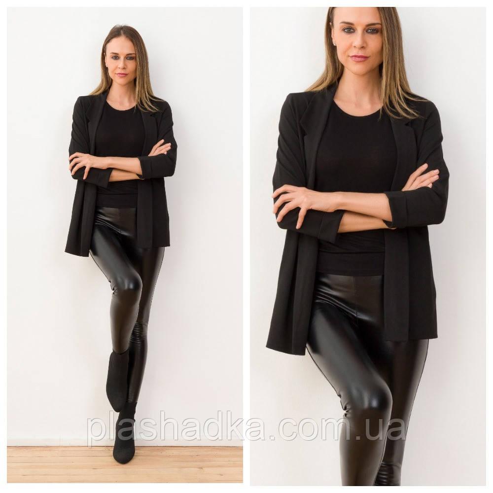 Женский черный пиджак оверсайз с рукавом 3/4. трикотажный (Турция)
