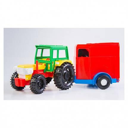 Трактор с прицепом в коробке 39009 -1/2 (С конем), фото 2