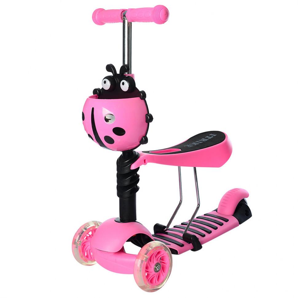 Самокат детский трехколесный разборной iTrike ( Светло-розовый)