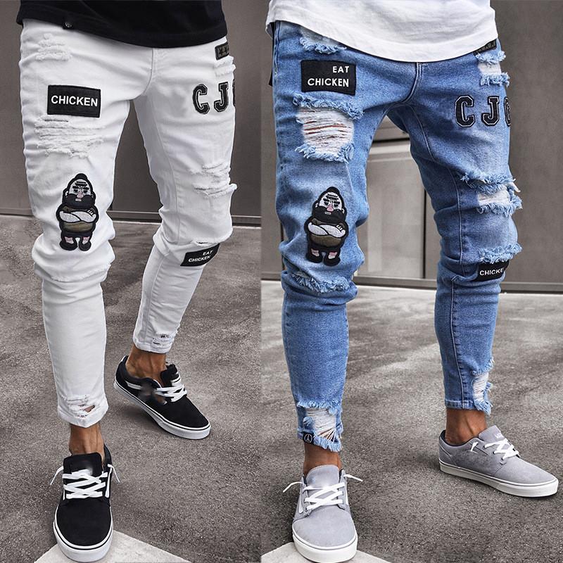 "Мужские стрит-ретро джинсы с нашивками ""Fashion casual"""