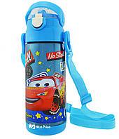 Термос детский с поилкой и шнурком на шею Disney 603 350 мл Тачки Голубой