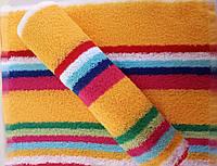 Полотенце кухонное махровое желтое с цветной полоской  50*30