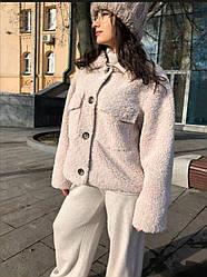 Пиджак из плющевого искусственного меха (тедди), беж