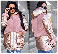Теплая женская блестящая стеганая куртка-пальто. 2 цвета!, фото 1