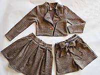 Нарядный детский костюм тройка в клетку для девочки 128 размер, фото 1