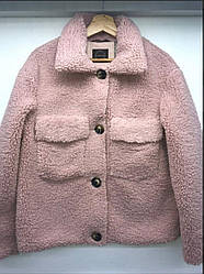 Пиджак из плющевого искусственного меха (тедди), пудра