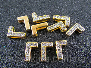Буква М золотиста для набірного іменного браслета 10 шт/уп.