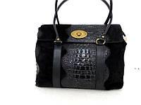 Модная женская сумка 100% натуральная кожа. Италия. Черный, фото 1