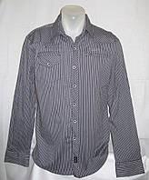 Рубашка силуэта Slim Fit в темно-серую полоску р.38(M),40(L),42(XL)