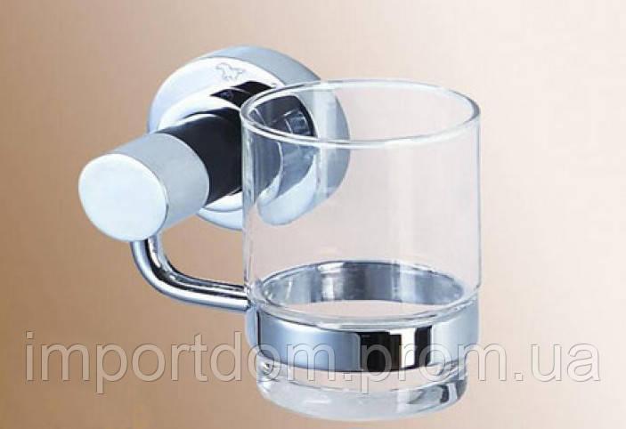 Стакан стекло с держателем 14*10,5*10см, латунь хром