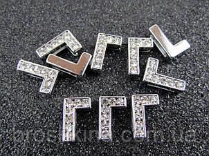 Буква М срібляста для набірного іменного браслета 10 шт/уп.