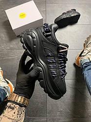 Женские кроссовки Buffalo London Black Blue (черный/синий)