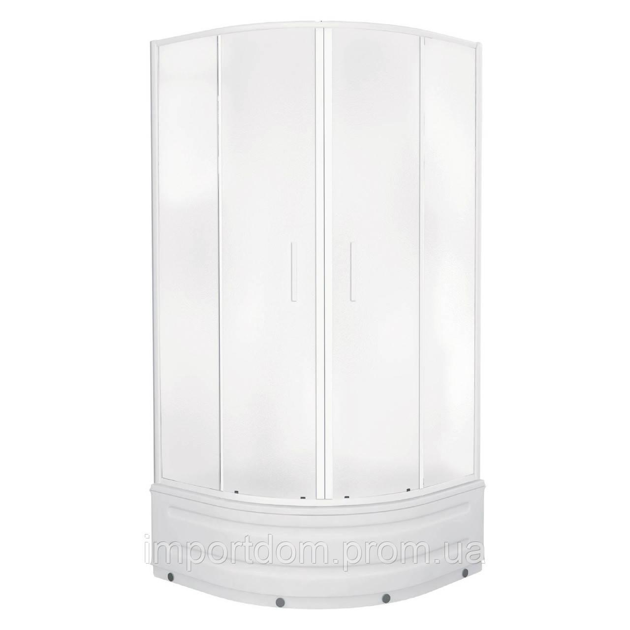 """TISZA MELY душова кабіна 90*90*200 см, на глибокому піддоні, профіль білий, скло """"Zuzmara"""""""