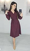 Легкое летнее платье на запах, (48-50рр), миди, за колено, принт горошек на черном, фото 1
