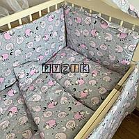 """Детское постельное бельё (8 предметов) """"Овечки розовые"""", фото 1"""