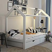 VitaliSpa детская кровать с выдвижными ящиками, 96x208 см, натуральное дерево, цвет белый