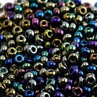 Бисер Preciosa Чехия №59205 1г, чёрный непрозрачный радужный