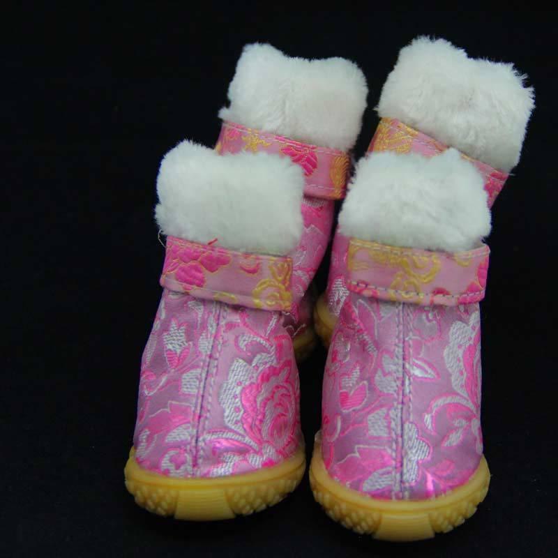 Ботинки для собак с вышивкой, розовые, 1/ 4.2*3.5 см